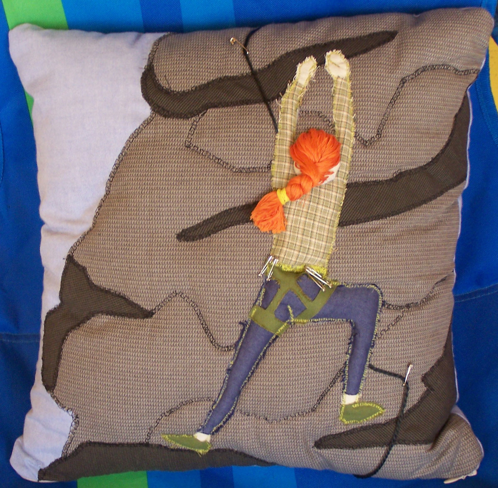 Handmade Rockclimber Throw Pillow