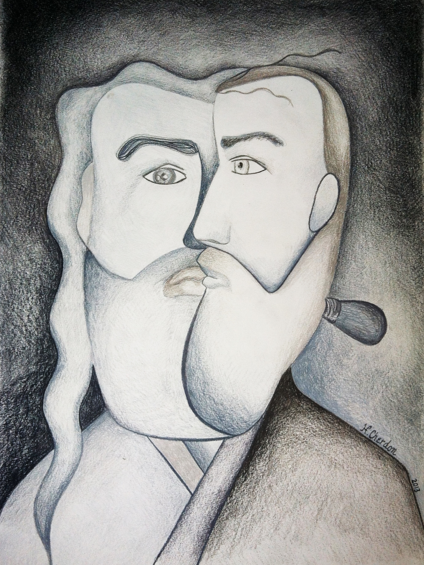 Chercasso: Illustration Inspired by Picasso's Black & White Period