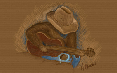Guitar Cowboy Digital Pencil Drawing