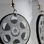 Black and White Film Reel Recycled Handmade Earrings