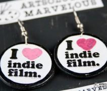 I Heart Indie Film Disc Recycled Handmade Earrings
