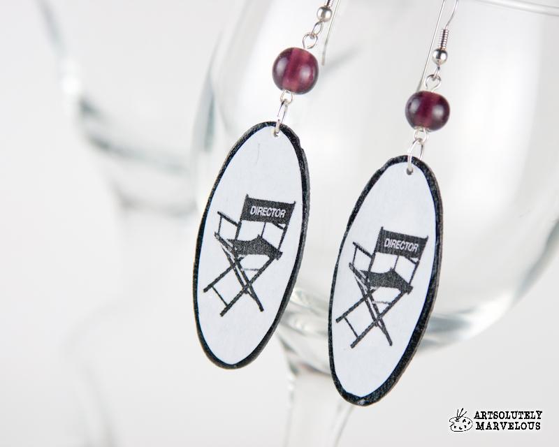 Directors Chair Film Strip Handmade Recycled Earrings