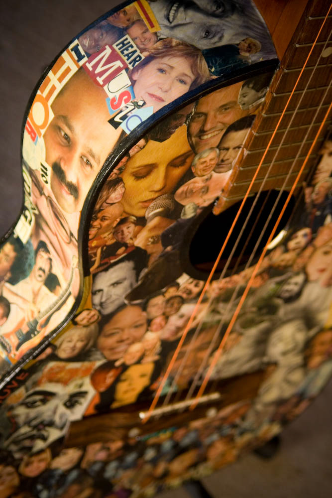 Decoupaged Collage Guitar Faces